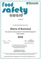 Image of the Food Safety Award Certificate