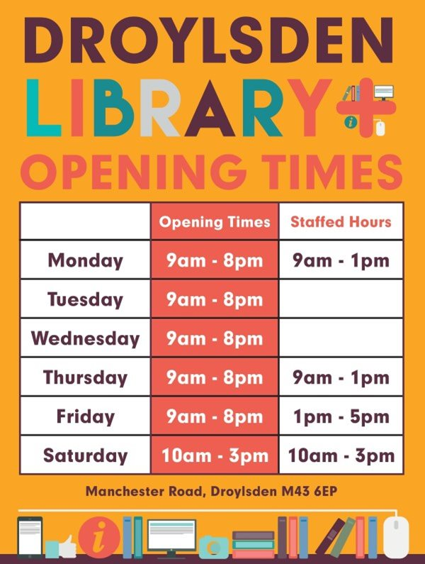 Droylsden opening times including Open+