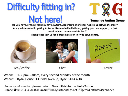 Tameside Autism Group advert with contact details
