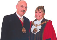Civic Mayor Cllr Margaret Sidebottom with her consort an husband Colin
