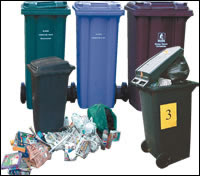 Picture of the various bins available from Tameside Council