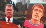 Sir Geoff Hurst on a visit to Tameside, and inset in his early days