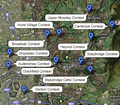 Map of Tameside Whit Friday Contests