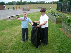 Pupils from Bradley Green Primary, Hyde, litter picking
