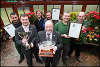 Cllr David Sweeton:  Project Head - Sports and Leisure and the Tameside in Bloom team with the North West 2007 trophy and Clean Sweep Award.