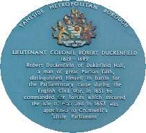 Blue Plaque for Colonel Robert Duckenfield