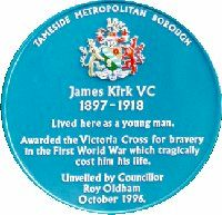 Blue Plaque for James Kirk, VC
