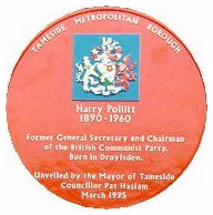 Red Plaque for Harry Pollitt