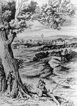 View of Ashton taken from engraving, showing Ashton Old Hall and Ashton Parish Church