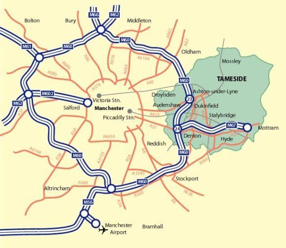 Map of M60 Manchester Ringroad