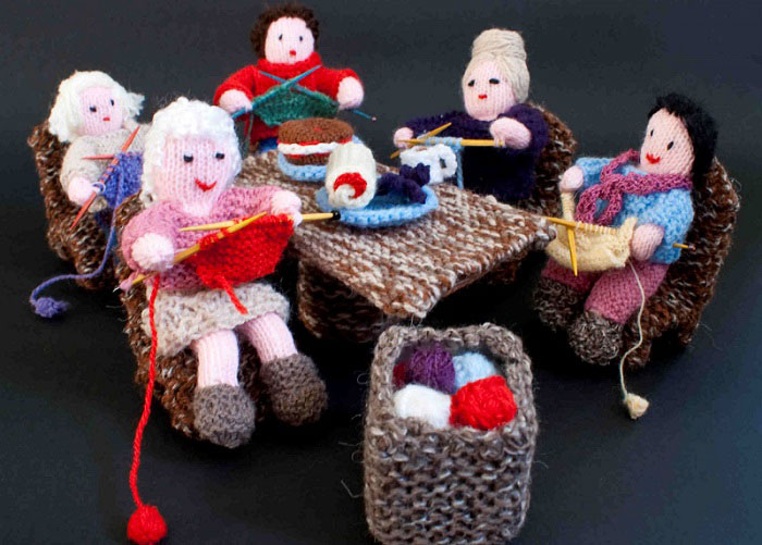 Knit and Natter knitted scene teaturing ladies around a table