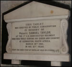 Marble tablet to Pte Samuel Taylor (3VB)