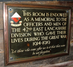 42nd Division Memorial Plaque, Museum of the Manchester Regiment