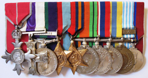 The Medals of Lieutenant-Colonel Robert 'Rex' King-Clark L-R  MBE, Military Cross, General Service Medal Palestine, 1939-45 Star, Burma Star, 1939-45 defence medal, 1939-45 War Medal, Korea Medal British, Korea Medal UN, Coronation Medal 1953