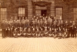 Warrant officers and Sergeants of the 6th Royal Militia outside the Officers mess Ladysmith Barracks 1887