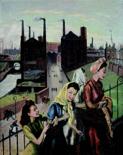Painting of Mill Girls by Harry Rutherford copyright the Rutherford Estate