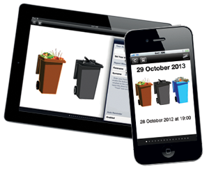 The bins app on an iPad and iPhone