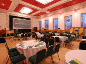 Photograph of the Jubliee Hall set up for a conference
