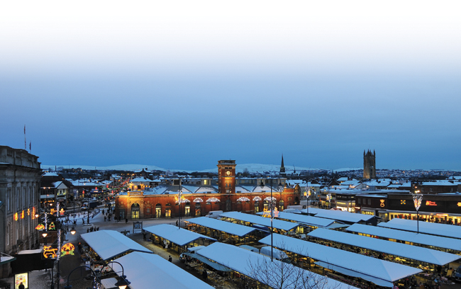 Image of Ashton-under-Lyne town centre at Christmas time